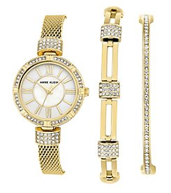 Anne Klein® Goldtone Watch And Crystal Bracelet Set