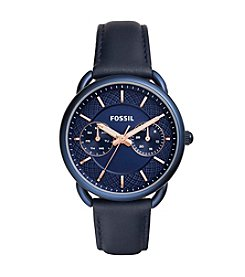 Fossil® Women's 35mm Tailor Multifunction Blue Leather Strap Watch