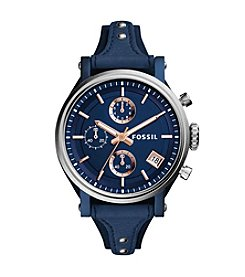 Fossil® Women's Navy 38mm Original Boyfriend Sport Chronograph Watch