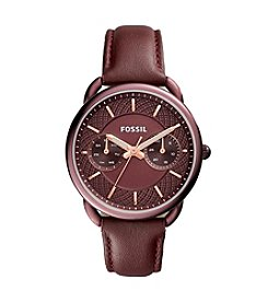 Fossil® Women's 35mm Tailor Multifunction Watch with Wine Leather Strap