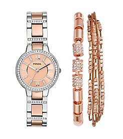 Fossil® Women's 30mm Virginia Two-Tone Stainless Steel Watch and Jewelry Box Set
