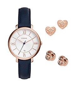 Fossil® Jacqueline Three Hand Date Leather Watch And Earrings Box Set