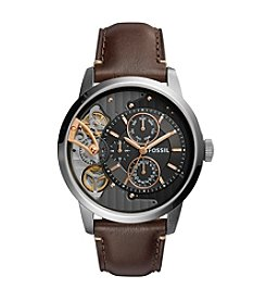 Fossil® Men's 44mm Townsman Twist Multifunction Leather Watch