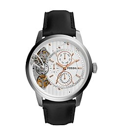 Fossil® Men's 44mm Townsman Twist Multifunction Watch with Black Leather Strap