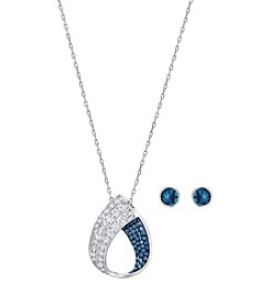 Swarovski® Silver and Blue Earrings and Necklace Set
