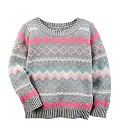 Carter's® Girls' 2T-8 Fair Isle Intarsia Sweater