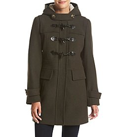 London Fog® Toggle Coat with Sherpa Hood