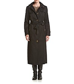London Fog® Single Breasted Belted Long Rain Coat