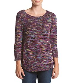 Studio Works® Petites' Space Dye Crew Neck Sweater