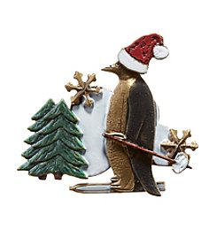 Silver Forest® Skiing Penguin Pin
