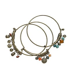 Ruff Hewn Three Multi Bead Bangle Set