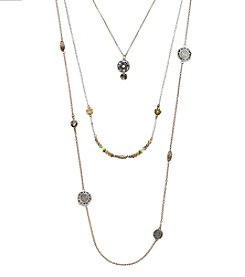 Ruff Hewn Three Row Layered Two Tone Necklace