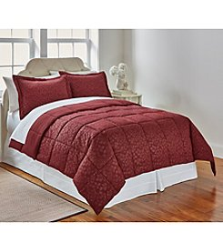 LivingQuarters Reversible Microfiber Down-Alternative Embossed Botanical Comforter