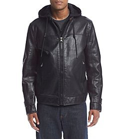 Andrew Marc® Men's Newfane Faux Leather Hoodie