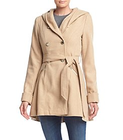 Jessica Simpson Double Breasted Hooded Walker Coat With Belt