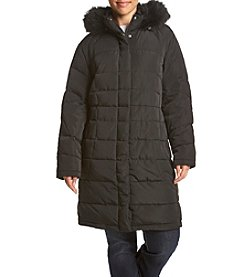 Calvin Klein Plus Size Box Quilt Coat With Faux Fur Trim Hood