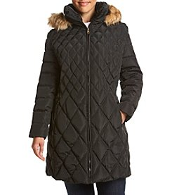 Jessica Simpson Plus Size Diamond Quilted Puffer Coat With Faux Fur Trim Hood