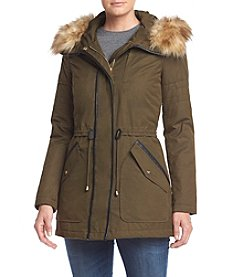 Jessica Simpson Faux Leather Piping Anorak Coat