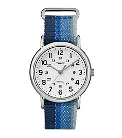 Timex® Unisex Weekender Blue Striped Denim Slip-Thru Strap Watch