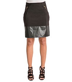 Poetic Justice Layla Ponte Vegan Leather Pencil Skirt