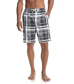 Paradise Collection® Men's Black Plaid Swim Trunks