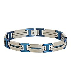 Steel Impressions Blue Accent Stainless Steel Bracelet
