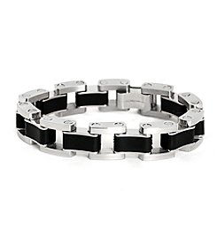Steel Impressions Stainless Steel and Black Rubber Bracelet