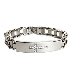 Steel Impressions Stainless Steel Gem Cross Bracelet