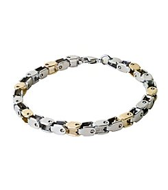 Steel Impressions Stainless Steel Two-Tone Alternating Box Links Bracelet