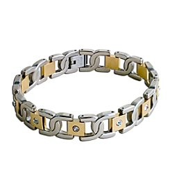 Steel Impressions Stainless Steel Two-Tone Links Gem Bracelet