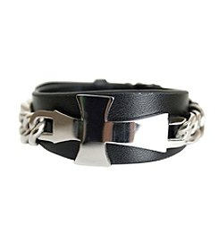 Steel Impressions Stainless Steel and Leather Cross Bracelet