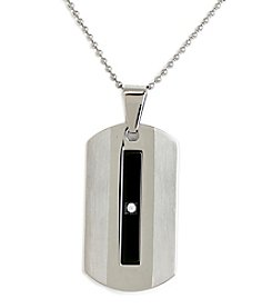 Steel Impressions Stainless Steel Black Gem Dog Tag