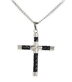 Steel Impressions Stainless Steel Braided Leather Cross Pendant