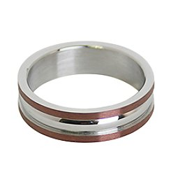 Steel Impressions Stainless Steel Coffee Color Accents Ring