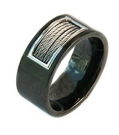Steel Impressions Stainless Steel Black Cable Ring