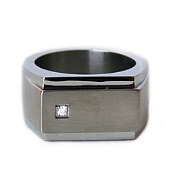 Steel Impressions Stainless Steel Gem Ring