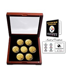 NFL® Pittsburgh Steelers 24KT Gold plated 7-Coin Super Bowl Champions Set by The Highland Mint