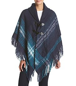 Collection 18 Mosaic Boucle Border Poncho Jacket