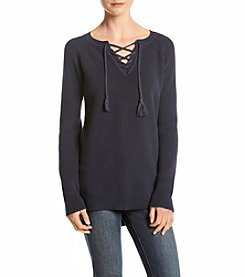 Ruff Hewn Lace-Up High Low Sweater