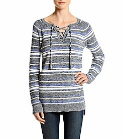 Ruff Hewn Stripe Lace-Up High Low Sweater