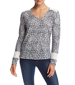 Ruff Hewn Petites' Tile Print Lace Shoulder Top