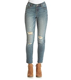 Ruff Hewn Mid Rise Destructed Ankle Skinny Jeans