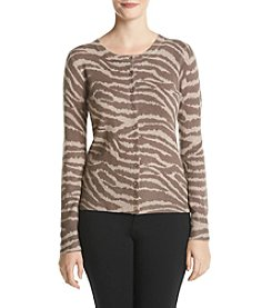 Premise Cashmere® Animal Print Crew Neck Cardigan Sweater