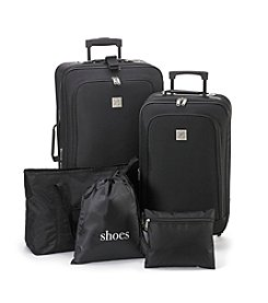Travel Quarters Black 5-pc. 2-wheeled Luggage Set