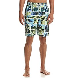 Paradise Collection® Men's Tile Print Swim Trunks