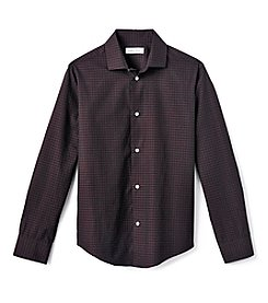 Calvin Klein Boys' 4-20 Long Sleeve Gingham Dress Shirt