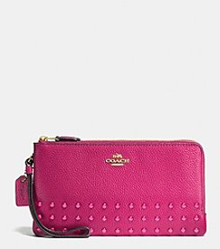 COACH LACQUER RIVETS DOUBLE ZIP WALLET