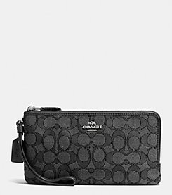 COACH DOUBLE ZIP WALLET IN SIGNATURE JACQUARD