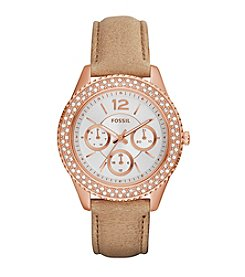 Fossil® Women's 38mm Rose Goldtone Stella Watch with Leather Strap