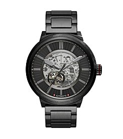 A|X Armani Exchange Black Stainless Steel Textured H-Link Bracelet Watch